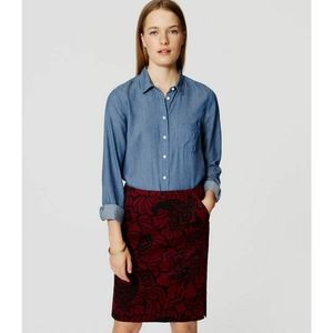 LOFT lace printed pencil skirt